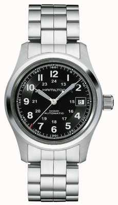 Hamilton Bracelet en acier pour homme kaki field auto cadran noir H70455133
