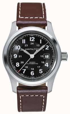 Hamilton 42mm automatique de champ kaki Mens cadran noir bracelet brun en cuir H70555533