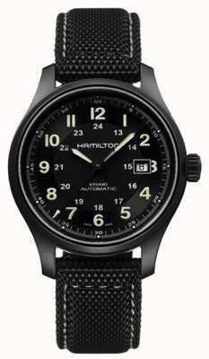 Hamilton Mens kaki field titanium auto black dial H70575733