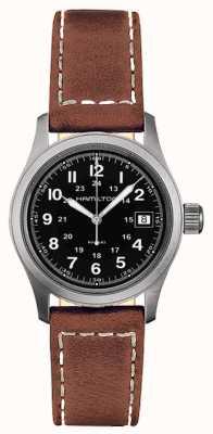 Hamilton Mens champ kaki quartz cadran noir bracelet brun H68311533