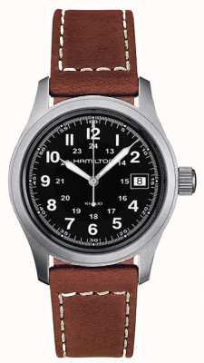 Hamilton Bracelet en quartz marron kaki pour homme avec cadran noir 38 mm H68411533