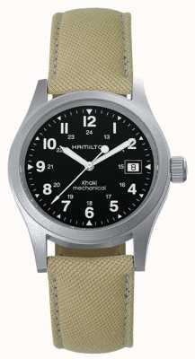 Hamilton Mens kaki officier de terrain remontage manuel bracelet beige cadran noir H69439933