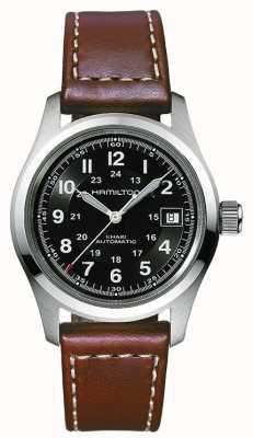Hamilton Mens kaki terrain 38mm cadran noir auto bracelet brun H70455533