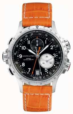 Hamilton Bracelet Cuir Homme Kaki Eto Flyback Orange H77612933