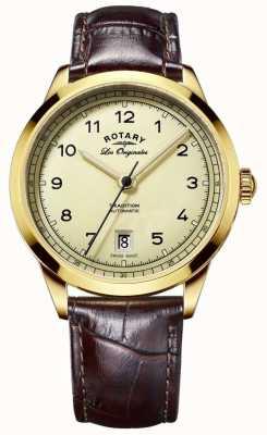 Rotary Mens les originales cadran en or bracelet brun en cuir GS90185/03