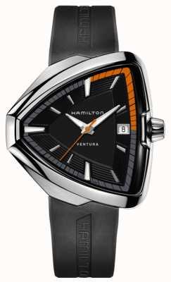 Hamilton Hommes Ventura Elvis 80 cadran noir bracelet en caoutchouc noir H24551331