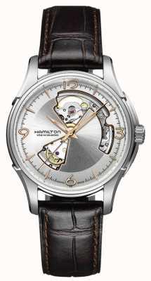 Hamilton Mens jazzmaster coeur ouvert bracelet en cuir brun cadran argenté H32565555