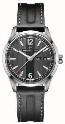 Hamilton Mens broadway date de jour bracelet en cuir noir cadran noir H43311735