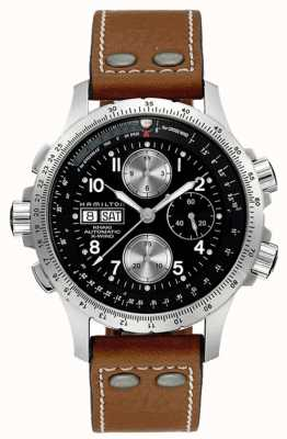 Hamilton Mens kaki x vent bracelet en cuir brun cadran noir H77616533