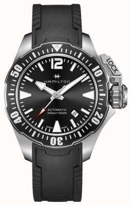 Hamilton Mens kaki frogman bracelet en caoutchouc noir cadran noir H77605335