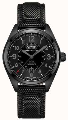 Hamilton champ Mens DayDate kaki matériau noir automatique cadran noir H70695735