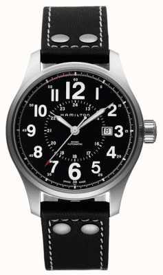 Hamilton Mens officier kaki automatique bracelet en cuir noir cadran noir H70615733