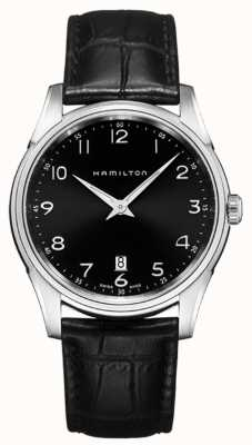 Hamilton Mens jazzmaster thinline bracelet en cuir noir cadran noir H38511733