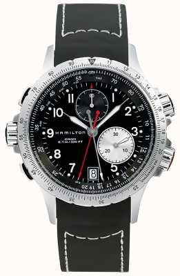 Hamilton Bracelet en caoutchouc noir pour homme chronographe flyback kaki eto H77612333