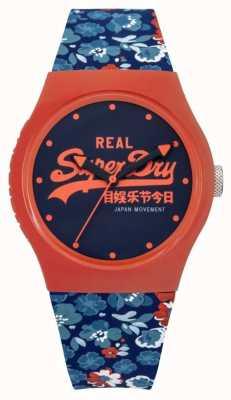 Superdry Bracelet en caoutchouc floral bleu et orange urbain pour femme cadran bleu SYL169UCO