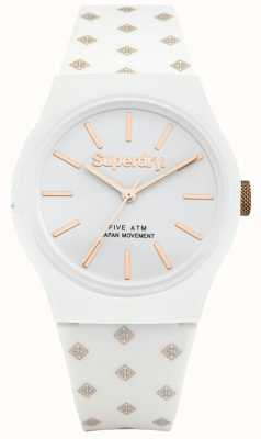 Superdry micro bracelet en caoutchouc blanc cadran blanc urbain unisexe SYG166WRG
