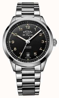 Rotary tradition Mens bracelet automatique en acier inoxydable cadran noir GB90184/19
