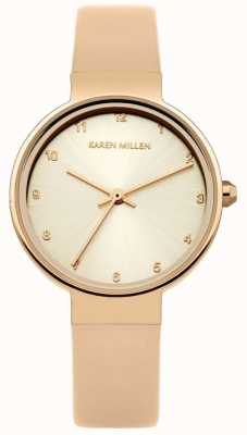Karen Millen Womens rose bracelet en cuir or rose cadran or KM131CRG