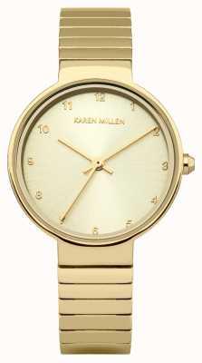 Karen Millen plaqué or Femmes cadran en or bracelet en acier inoxydable KM131GM