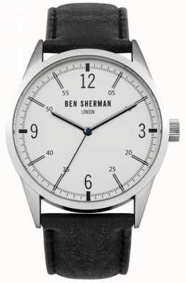 Ben Sherman Mens bracelet en cuir noir cadran blanc WB051B