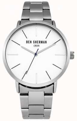 Ben Sherman Mens cadran blanc en acier inoxydable WB054SM