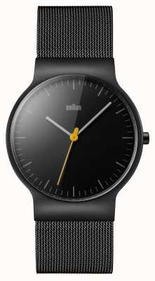 Braun Bracelet noir en maille noire avec cadran noir BN0211BKMHG