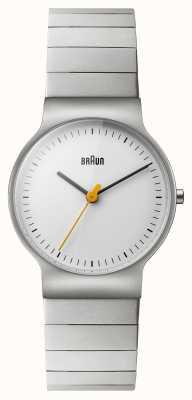Braun Bracelet en acier inoxydable pour femmes en cuir blanc BN0211SLBTL