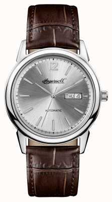 Ingersoll Mens 1892 le nouveau haven marron bracelet en cuir cadran argenté I00501