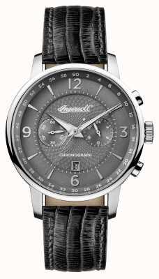 Ingersoll Hommes 1892 le bracelet en cuir noir grafton cadran gris I00601