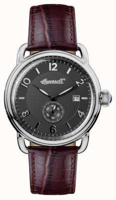 Ingersoll Mens 1892 la nouvelle Angleterre cuir marron courroie gris cadran I00801