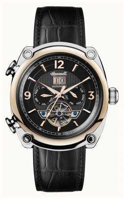 Ingersoll Mens 1892 le bracelet michigan en cuir noir cadran noir I01102