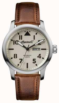 Ingersoll Découverte des hommes le bracelet en cuir brun Hatton cadran blanc I01301