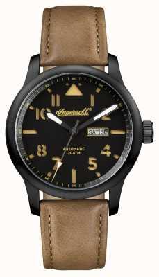 Ingersoll Découverte des hommes le bracelet en cuir brun Hatton cadran noir I01302
