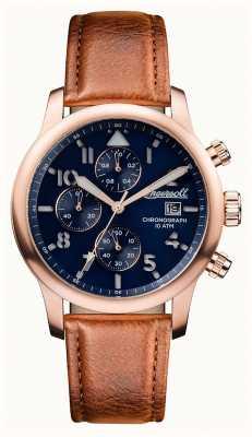 Ingersoll Découverte des hommes le bracelet en cuir brun Hatton cadran bleu I01502