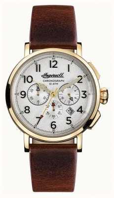 Ingersoll Découverte des hommes le bracelet en cuir marron de st johns cadran blanc I01703