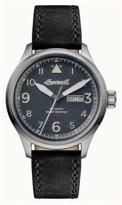 Ingersoll Découverte pour hommes le bateman bracelet en cuir noir cadran gris I01802