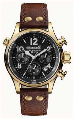 Ingersoll Découverte des hommes le bracelet en cuir marron Armstrong cadran noir I02003