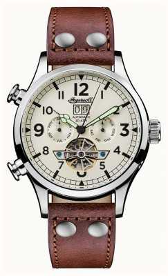 Ingersoll Découverte des hommes le bracelet en cuir marron Armstrong cadran blanc I02101