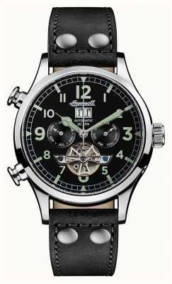 Ingersoll Découverte des hommes le bracelet en cuir noir Armstrong cadran noir I02102