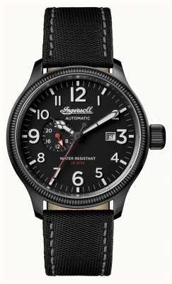 Ingersoll Découverte des hommes le bracelet en cuir noir apsley cadran noir I02801