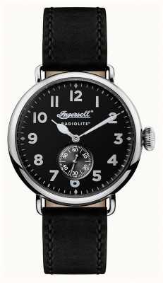Ingersoll Hommes radiolite le bracelet en cuir noir Trenton cadran noir I03201