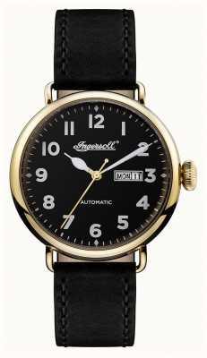 Ingersoll Chronomètre masculin le bracelet en cuir noir trenton cadran noir I03401