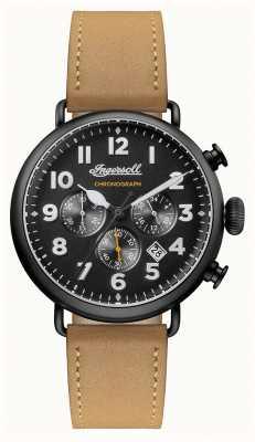 Ingersoll Hommes chronique le bracelet en cuir brun trenton cadran noir I03502