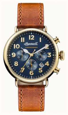 Ingersoll Les hommes chroniques la ceinture en cuir marron trenton bleu cadran I03501