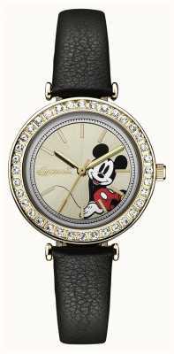Disney By Ingersoll Womens union le cadran argenté bracelet en cuir noir disney ID00301