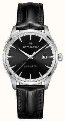 Hamilton jazzmaster Mens bracelet en cuir noir cadran noir H32451731