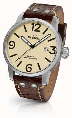 TW Steel Mens sandwich à la crème maverick cadran cuir marron sangle 45mm MS21