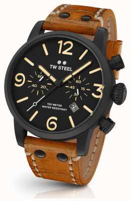 TW Steel Mens maverick noir en sandwich chronographe 45mm en cuir tan MS33