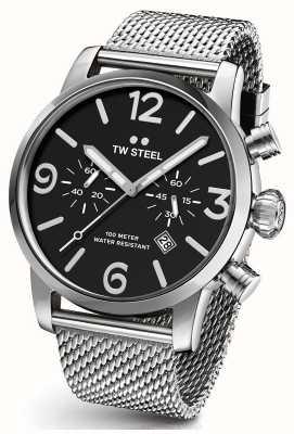 TW Steel Mens maverick chronographe cadran noir acier bracelet en maille 48mm MB14