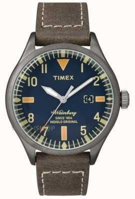 Timex Mens waterbury cuir brun cadran bracelet bleu marine TW2P83800